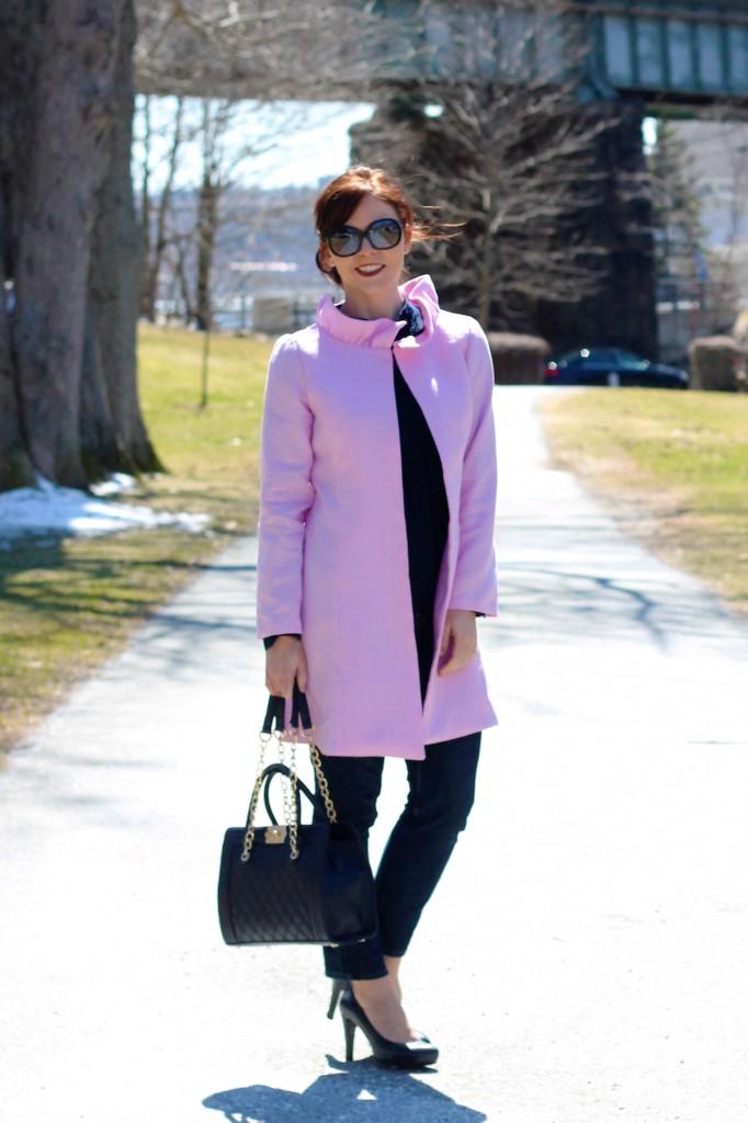 pink linen coat
