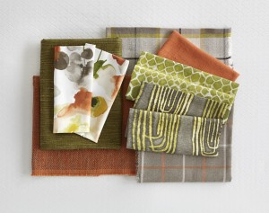 Woodstock Fabric Collection - Key colours are green and orange.