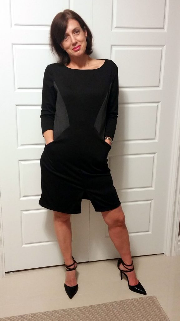 Ponte dress with contrasting side panels