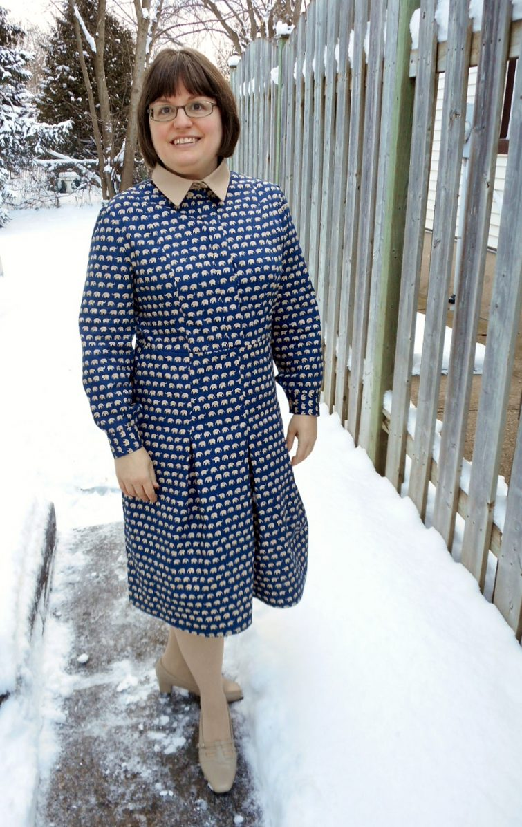 Vogue 9201 navy blue elephant print shirtdress