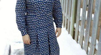Vogue 9201 navy blue elephant print shirtdress