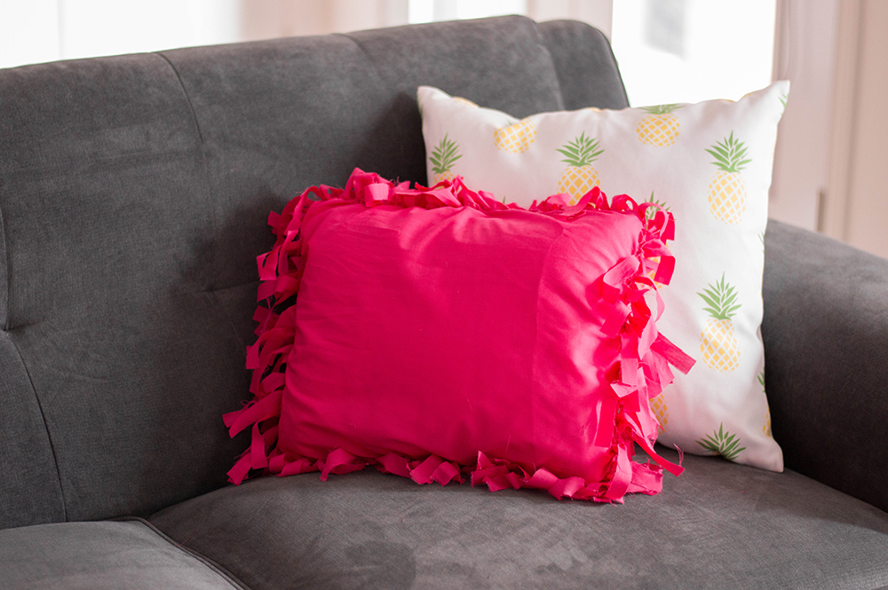 Adding a touch of colour to my otherwise neutral living room with my DIY No-Sew Pillows.