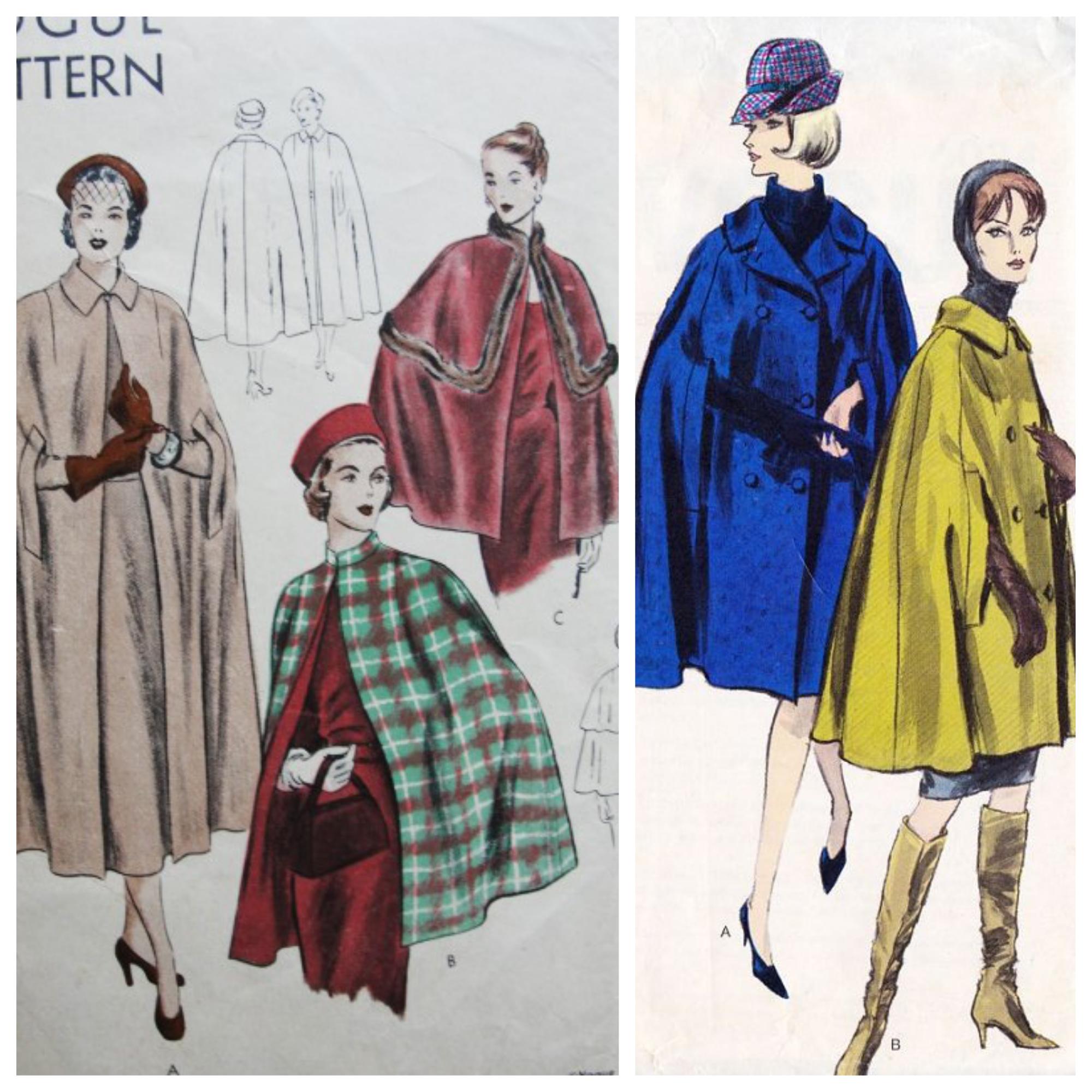 Vintage style Cape Coat 1940's 1950's