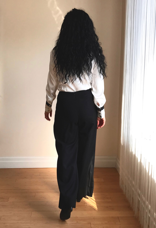 black linen wide-legged pant back