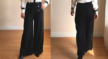 Wide-legged marine style black linen trousers