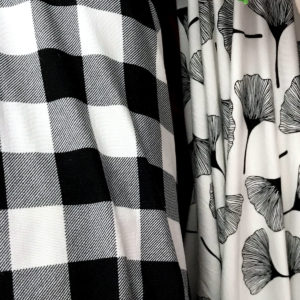 Black and white bamboo jersey fabric
