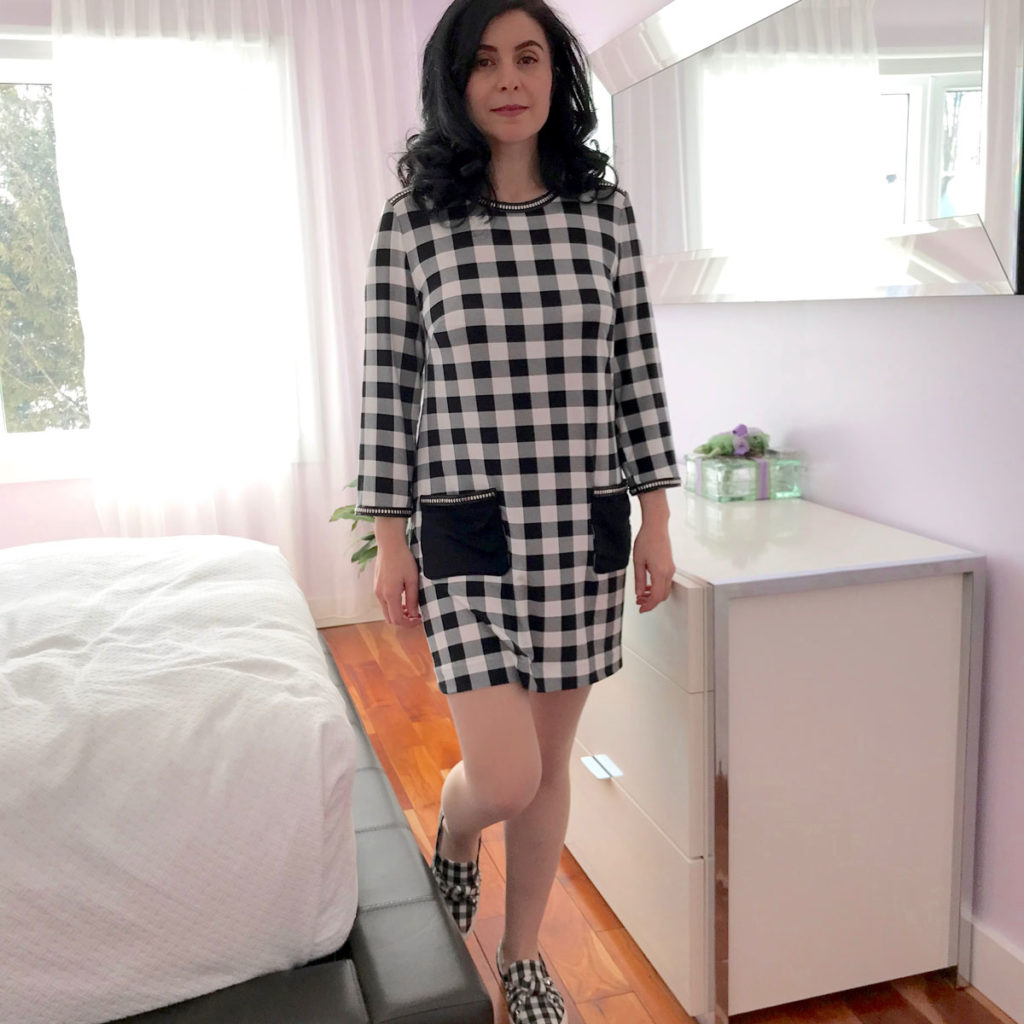 Black and white gingham jersey dress